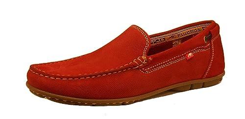 Fluchos Mocasines de Otra Piel Hombre, Rojo (Rojo), 41 EU