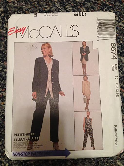 McCalls 8674 - Chaqueta sin forro para mujer, chaleco, pantalones ...