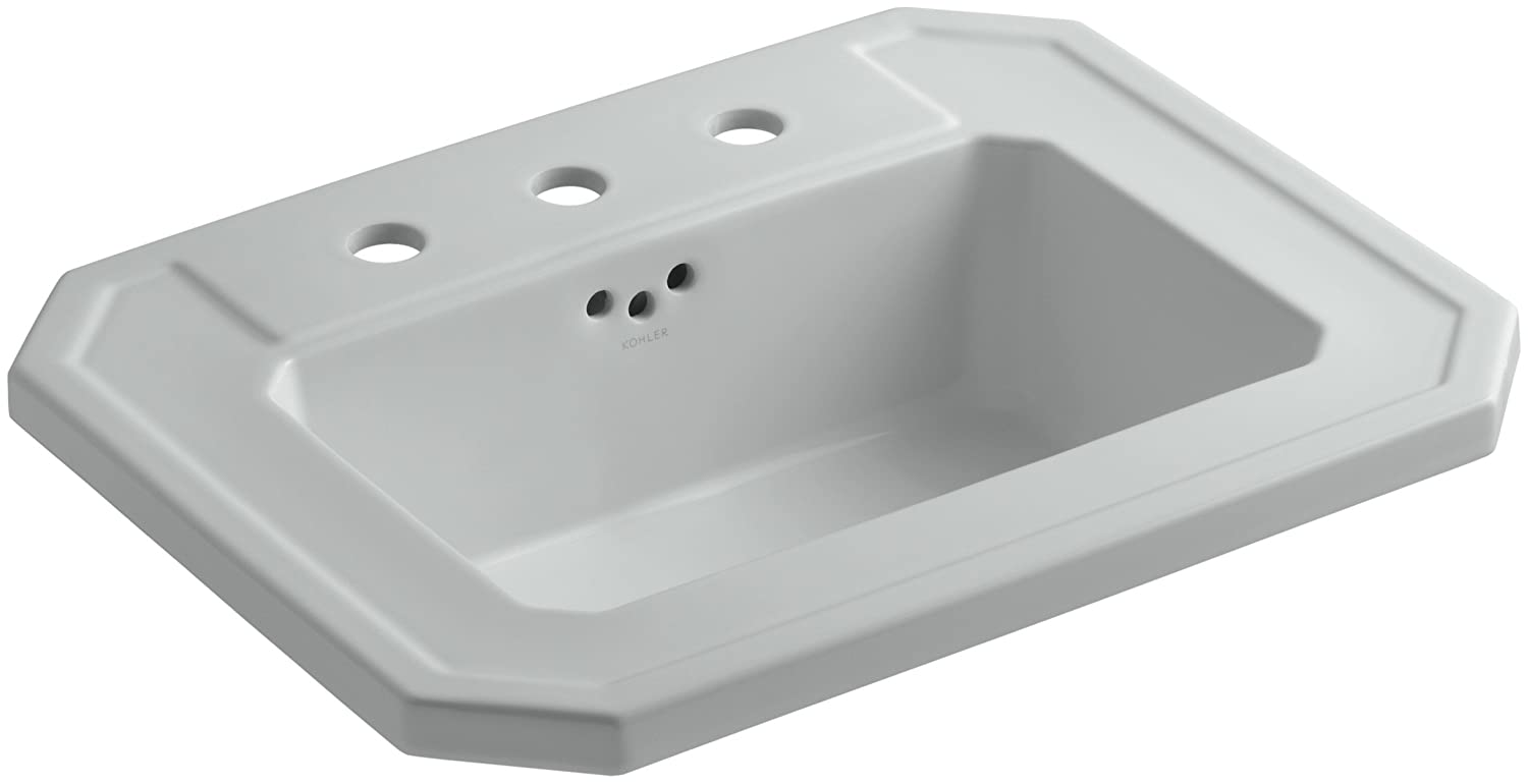 KOHLER K-2325-8-95 Kathryn Self-Rimming Bathroom Sink with 8 Centers, Ice Grey