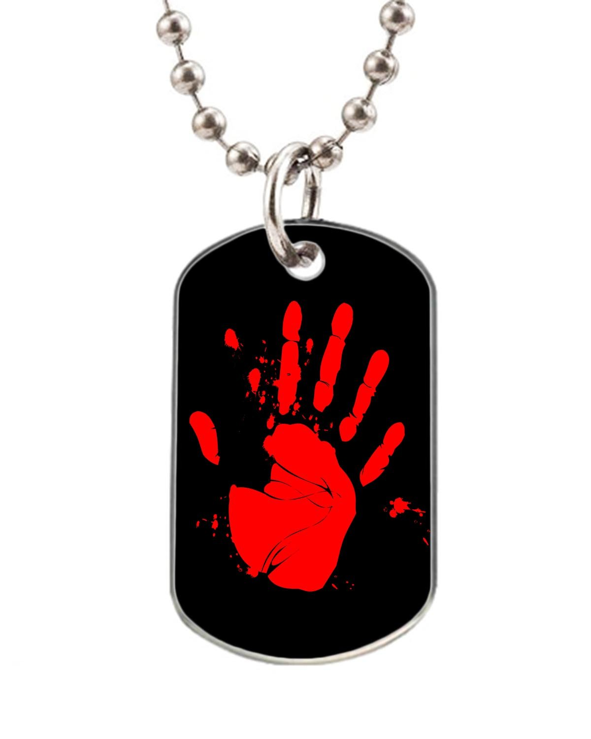 Blood hand print dog pet tag--- BIG-Size oval Dog Pet Tag 1.32 x 2.2 inche with 38  Aluminum Bead Chain