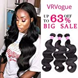 VRVOGUE Brazilian Body Wave 3 Bundles 100% Human Hair 7A Unprocessed Natural Color Brazilian Virgin Hair Extensions (14 16 18) Review