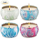 Onlywax Vanilla,Lemongrass, French Lavender and Rose Strongly Scented Sustainable Vegan Natural Soy Travel Tin Candles, 4-Pack