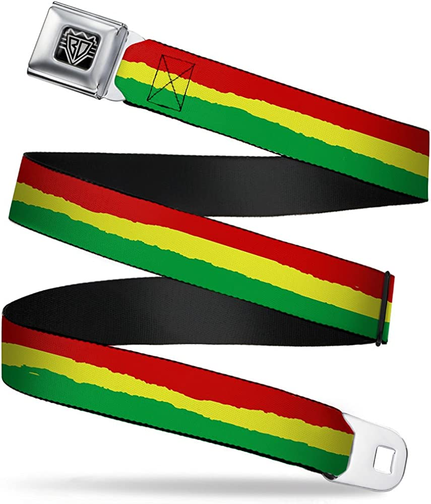 1.5 Wide Buckle-Down Seatbelt Belt 24-38 Inches in Length Rasta Stripes Painted Green//Yellow//Red