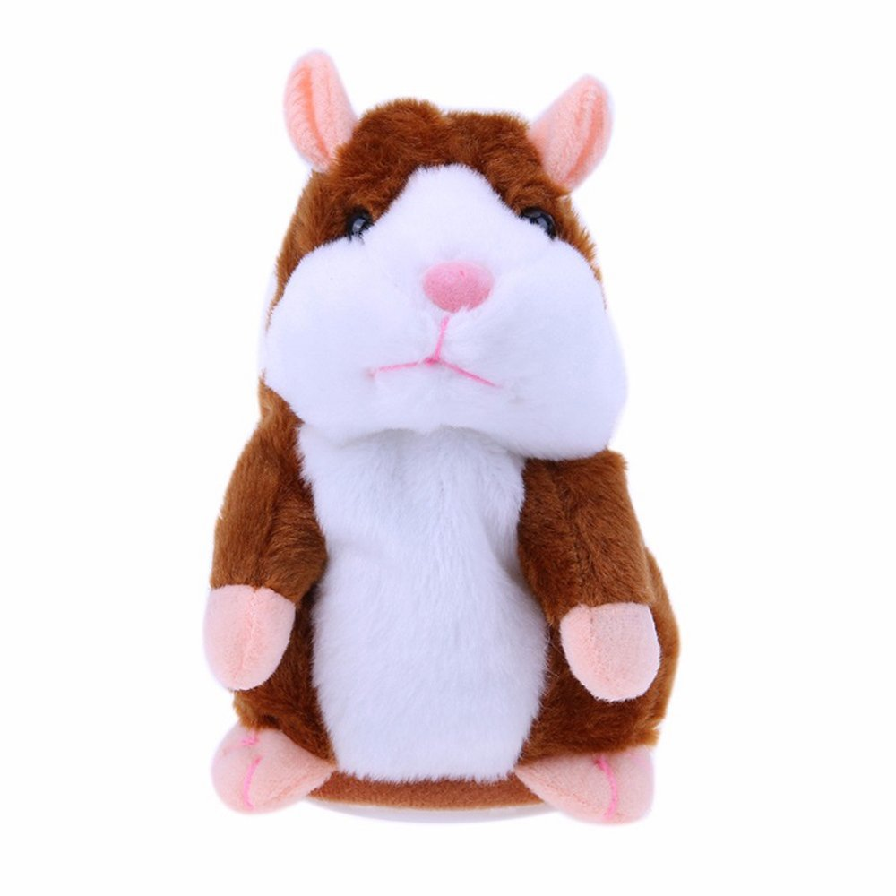 Mimicry Pet Talking Animal Toy Electronic Hamster Repeats What You Say, Pet Talking Plush Buddy Toy Kid Gift (Brown) DHLP