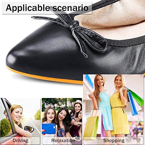 ABUSA Damen Leder / Wildleder Ballett Flache faltbare Spitzschuh Schuhe Flats-volles schwarzes Leder