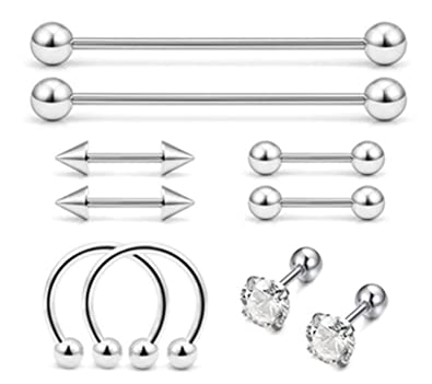 Beydodo 10pcs Piercing Aro Acero Inoxidable Aro Pin ...