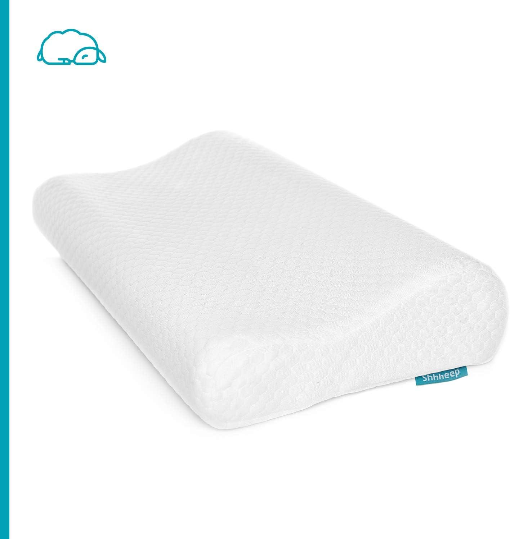 Almohada cervical con espuma viscoelástica hipoalergénica y antimicrobiana de altura ajustable. Funda extra suave de Tencel 100% natural. Diseño ergonómico de gran confort y comodidad