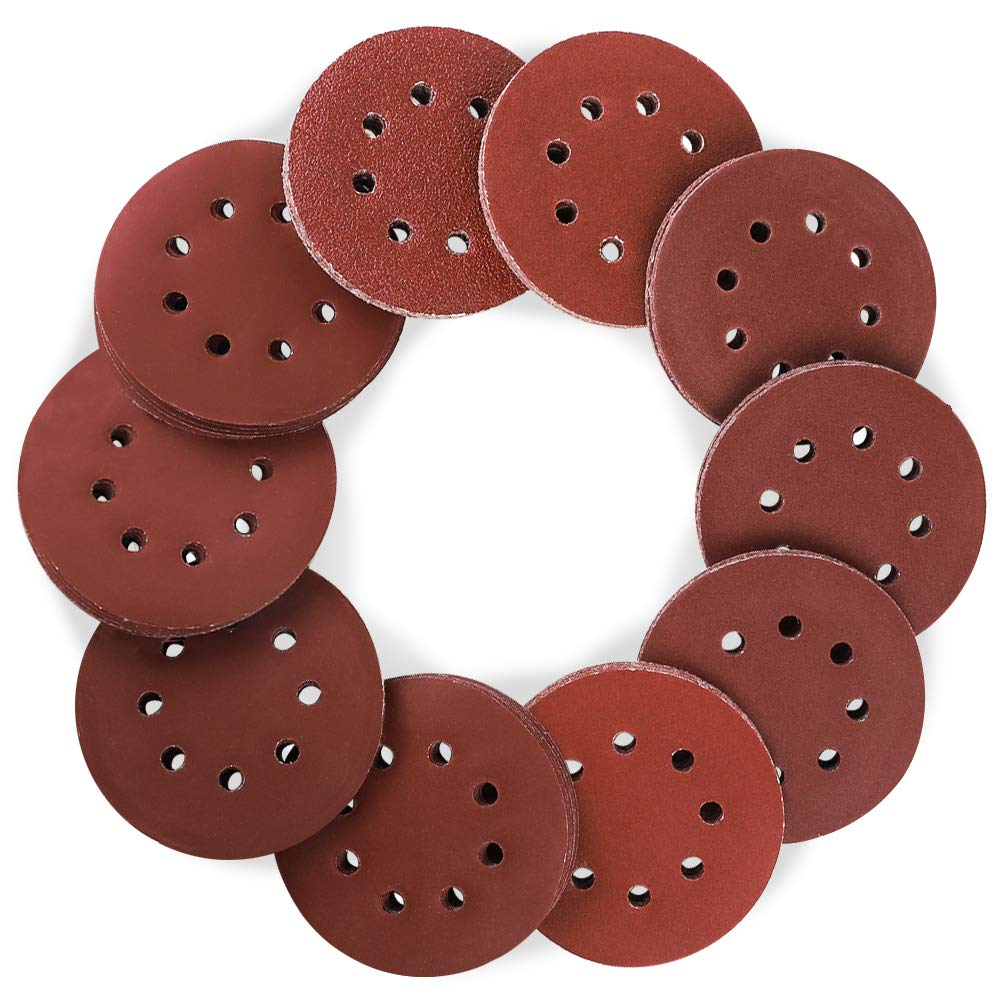 Coceca 160pcs Orbital Sandpaper Sanding Discs 5 Inch 8 Hole Hook and Loop, 20pcs Each 40/80/100/120/150/180 and 10pcs Each 240/320/400/600 Grits Obital Sandpaper, Pack of 160, for Orbital Sander