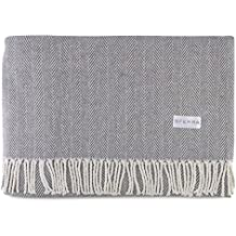 Sferra Celine Herringbone, 100% Cotton Throw Blanket - Charcoal