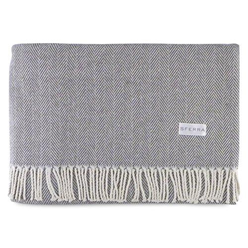 Sferra Celine Herringbone, 100% Cotton Throw Blanket - Charcoal from Sferra
