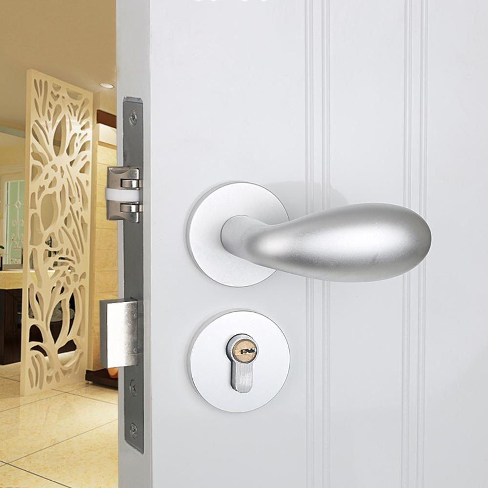 Daeou Mute Interior Door Handle Bedroom Solid Wood Door Lock Space aluminum split door lock