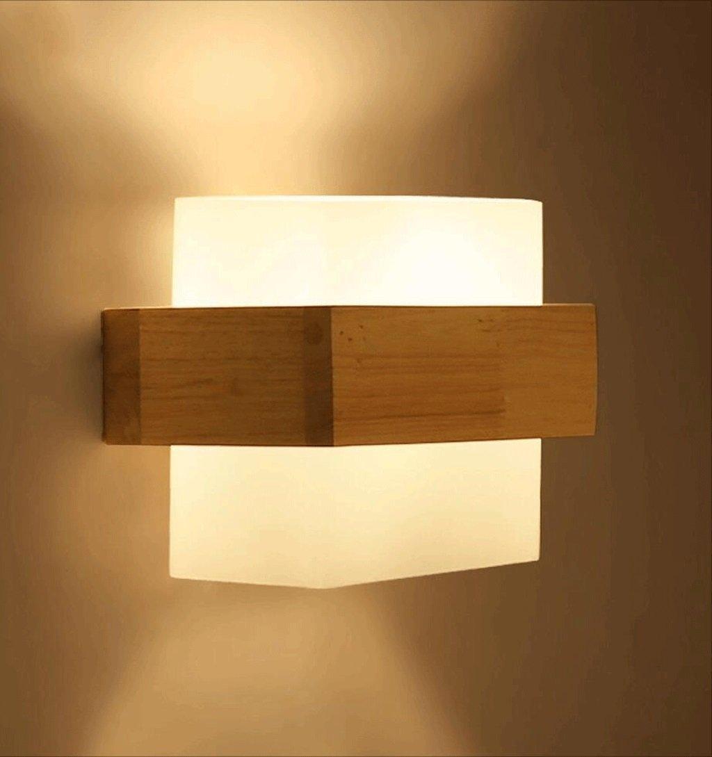 QZz lámpara de pared Lámpara de pared de madera maciza moderno simple salón pasillo balcón lámpara led dormitorio cama lámpara japonés lámpara