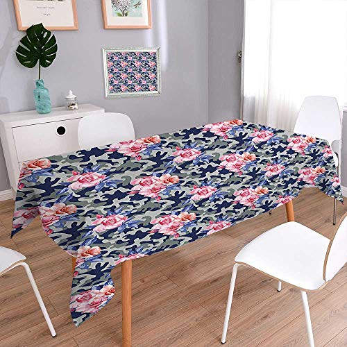- Jiahonghome Cotton and Linen Theme Pink Retro Design Roses Urban Fashion Nature Feminine Pink Violet Blue Sage Tablecloth for Dinner Parties, Summer & Outdoor Picnics