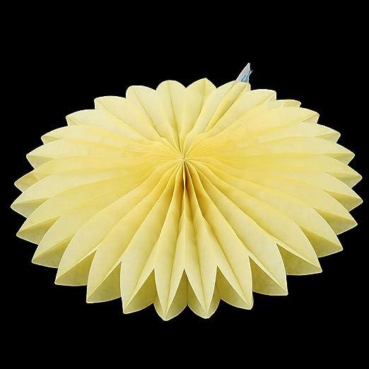 Amazon.com: eDealMax Amarillo Tissue Paper Folding Fan Flor 5pcs Para la Ventana de la Fiesta de cumpleaños de la boda Decoración Para el Hogar: Home & ...