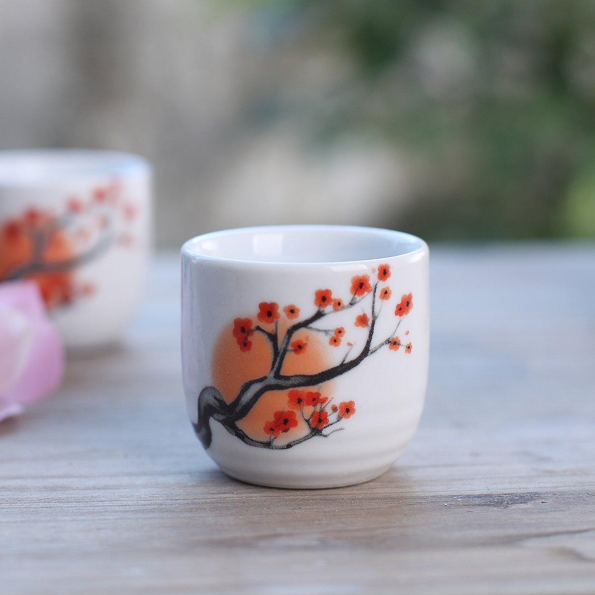 Tosnail 5 pcs Ceramic Japanese Sake Set - Orange Blossom by Tosnail (Image #3)