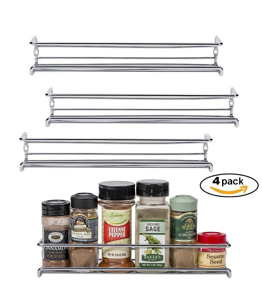Amazon.com: Set Of 4 Chrome Wall Mount Spice Racks   Single Tier Hanging  Organizers For Pantry   Over Stove, Kitchen Cupboard And Closet Door  Storage   By ...