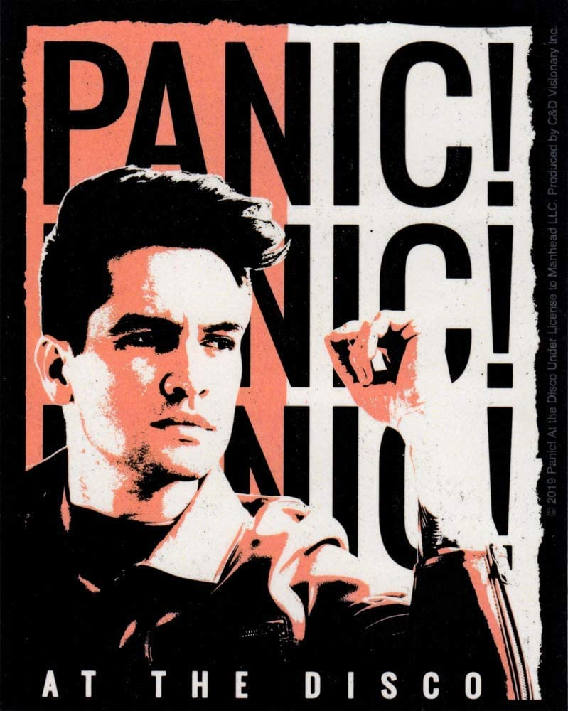 Square Deal Recordings & Supplies Panic! at The Disco - Pink and White Duotone Brendon Urie Portrait - Color Sticker/Decal