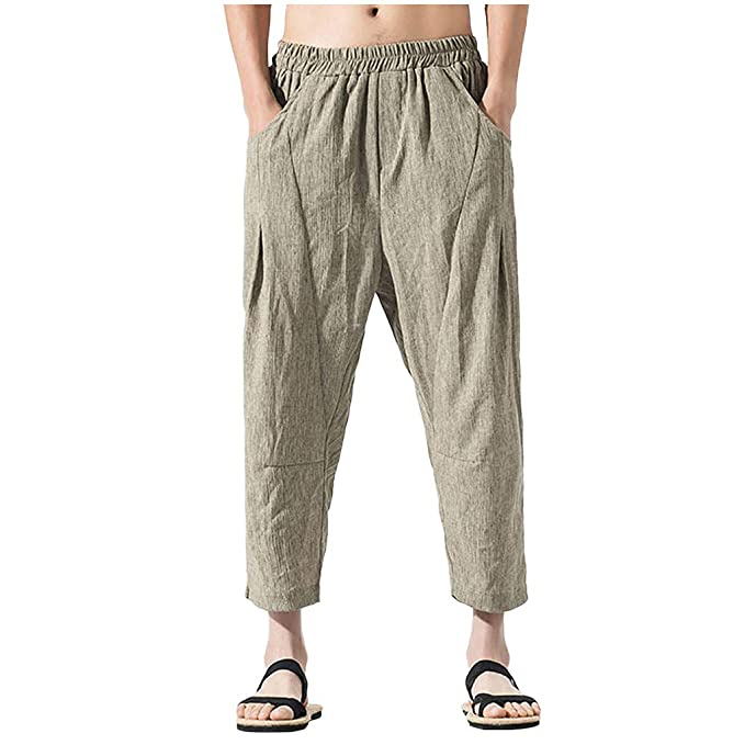 cinnamou Pantalones Hombre, Pantalones Rectos AlgodóN Y Lino ...