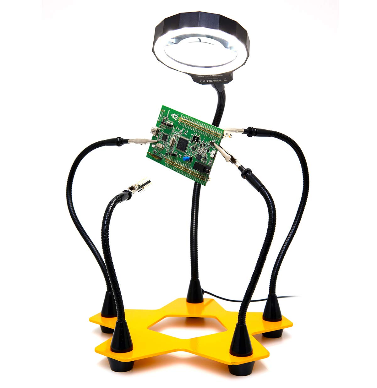 Third Hand Soldering PCB Holder Tool Quad Arms 3x LED Magnifying Helping Hands Crafts Jewelry Hobby Workshop Helping Station Non-slip Metal weighted base