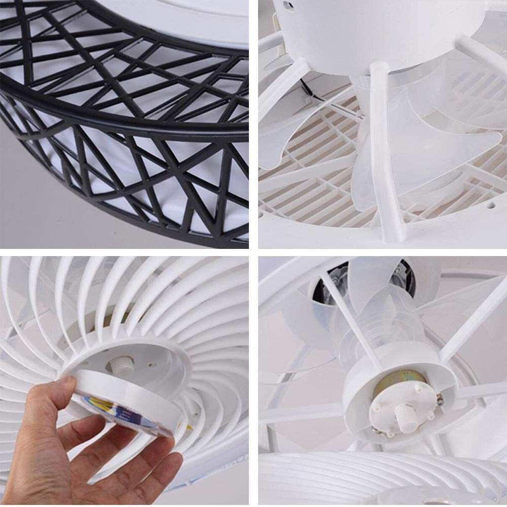 Ventilador de techo de 72W Luz de techo LED Aspa de ventilador transparente invisible LED incorporado con control remoto Decoración de nido de pájaro Longitud de suministro de aire giratorio 50 cm White