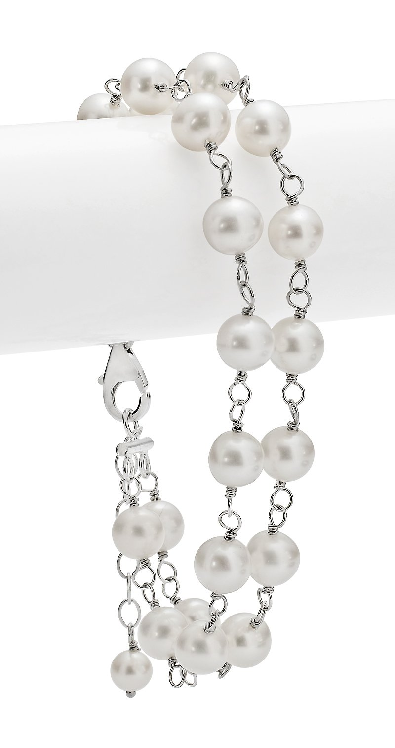 6.5-7mm Double Strand Sterling Silver White Freshwater Cultured Pearl Tin Cup Bracelet AA+ Quality, 7''-8''