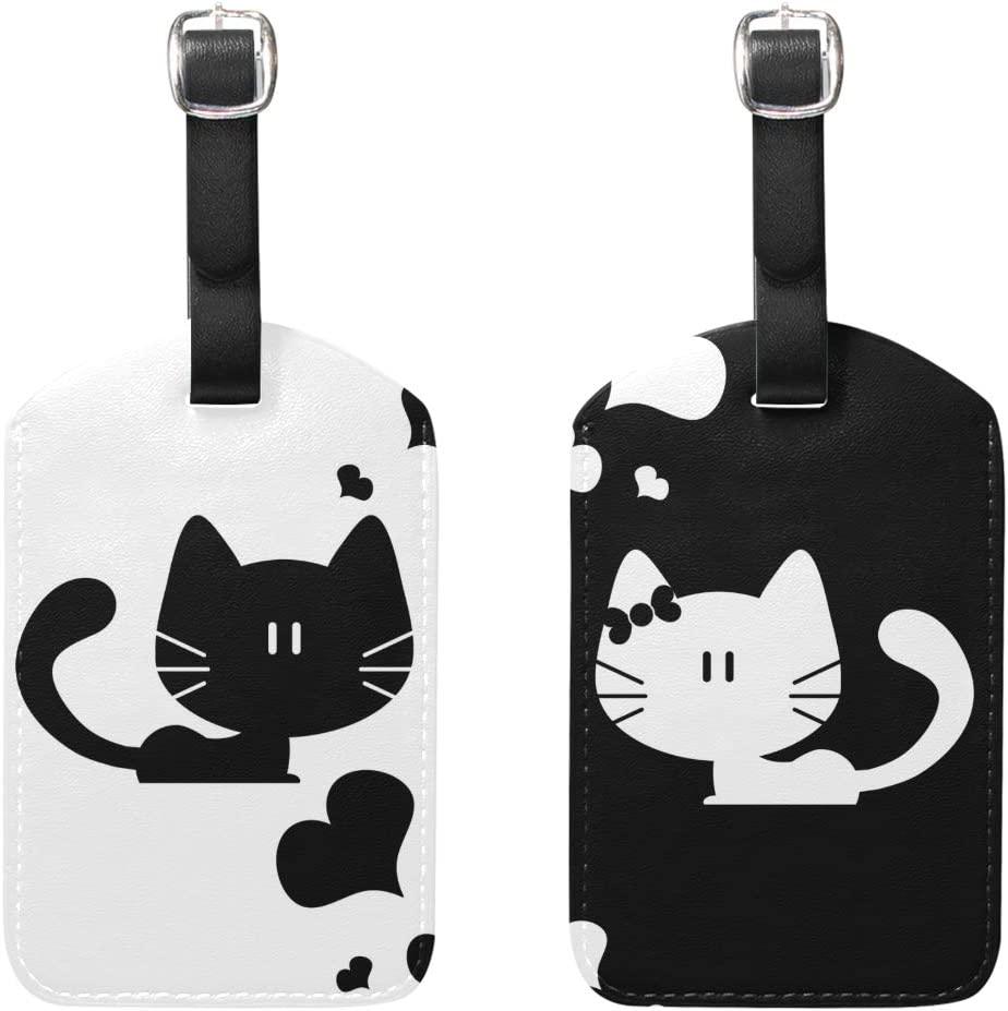 Cute Funny Kitten Cat Luggage Tag Label Travel Bag Label With Privacy Cover Luggage Tag Leather Personalized Suitcase Tag Travel Accessories
