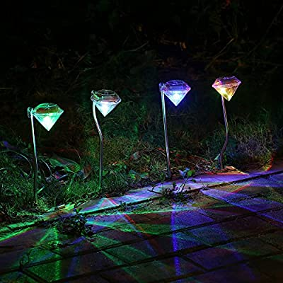 Solar Garden Lights Outdoor - Lightsky Color Changing Diamond LED Solar Landscape Pathway Lights Stainless Steel for Garden Path Walkway Patio Lawn Yard Deck Decoration, 4 Pack