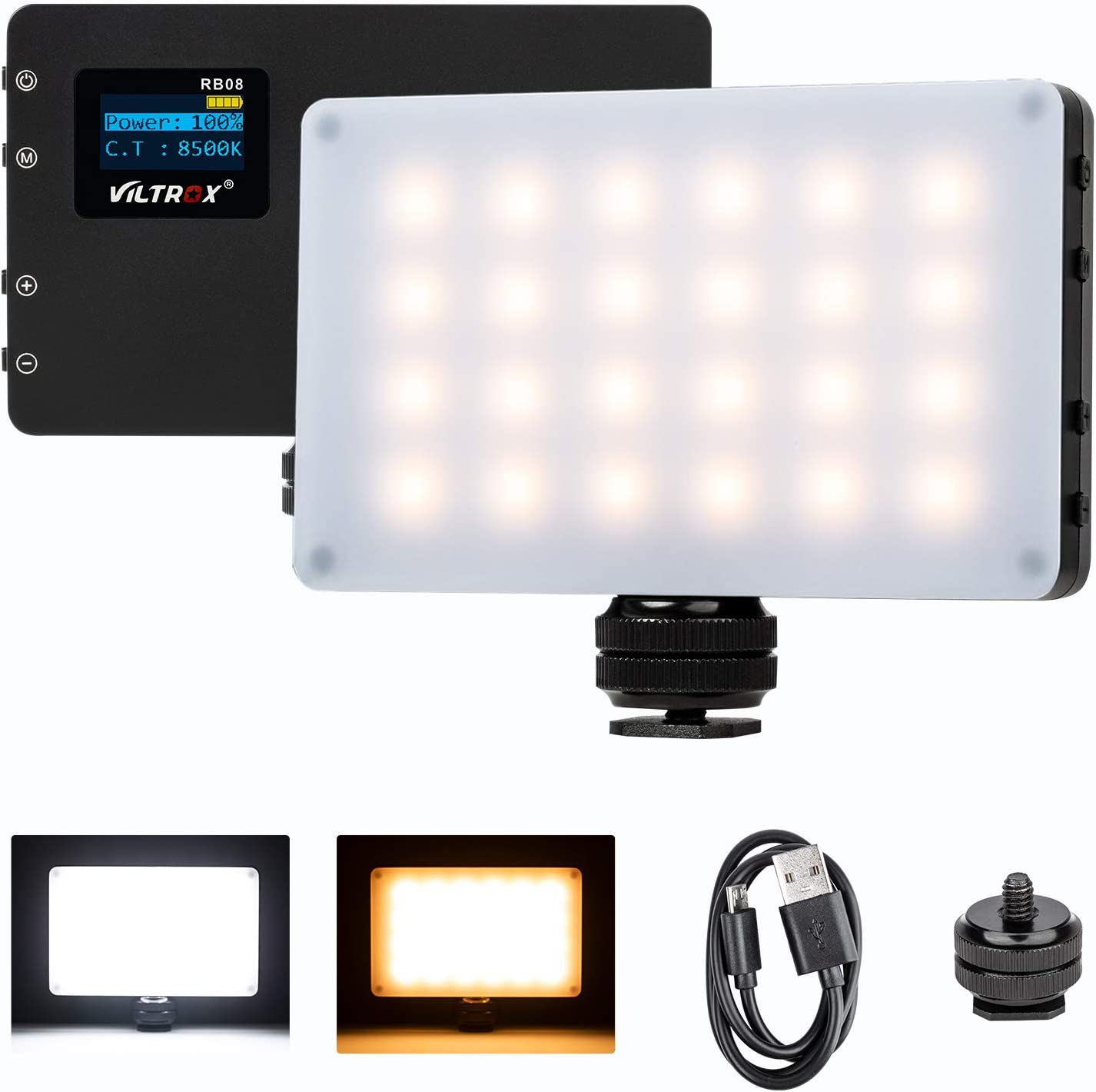 Venidice LED-198B Camera//Camcorder Light 198 Bi-Color LED Video Lighting Kit 3200K-7500K, 980LM LED Video Light with NP-F750 Battery Charger for Canon Nikon Sony and Other DSLR Cameras