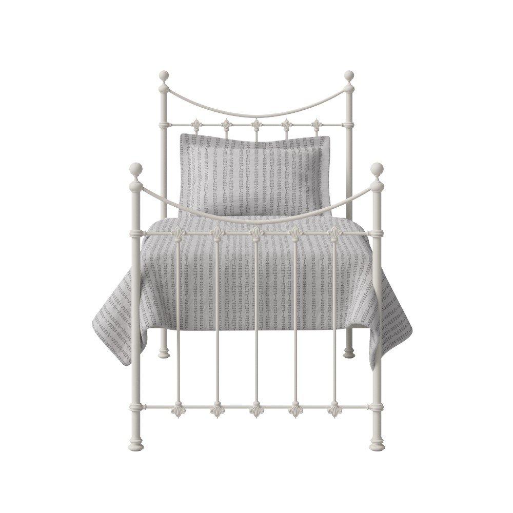The Original Bed Co. Metallbett Chatsworth Eisen Bettgestell mit Holz Lattenrost 90 x 190 cm Glänzendes Elfenbein