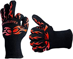 Fatmingo 932°F Heat Resistant BBQ Grilling Gloves Cooking gloves with Sillicon Anti-Slip