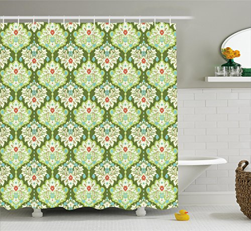 Victorian Figure (Shabby Chic Shower Curtain by Ambesonne, Victorian Style Baroque Floral Figures Rococo Inspired Flourish Design Artprint, Fabric Bathroom Decor Set with Hooks, 75 Inches Long, Green Mint)