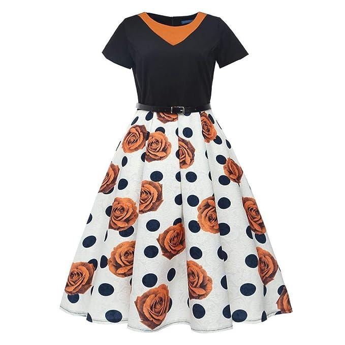 POLP Vestidos Largo Mujer, Estilo Hepburn Vestido Vestidos Mujer Elegantes Tallas Grandes Vestidos, Fiesta Falda Chaleco Camisetas, sin Mangas Vestidos, ...