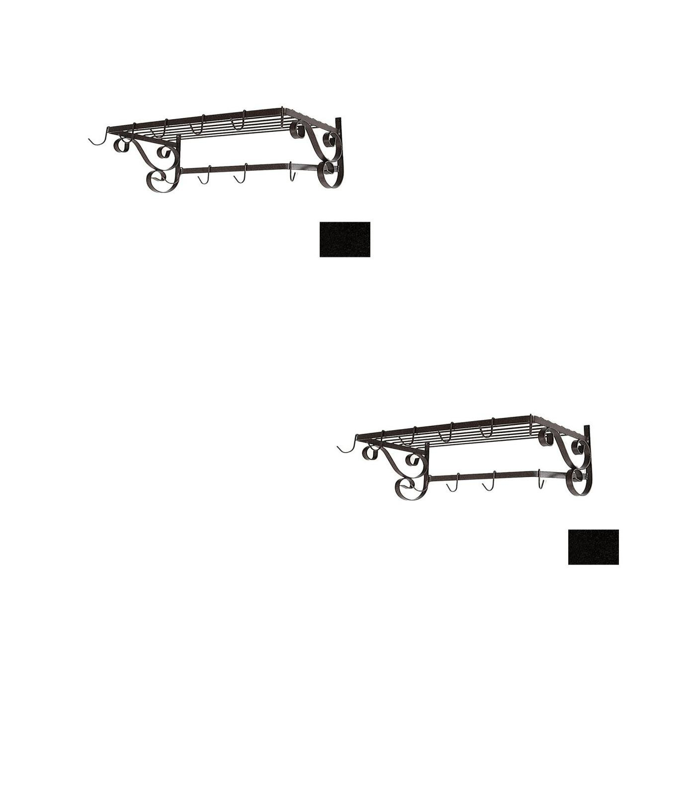 24-1/2-in x 13-in Satin Black Rectangle Pot Rack - Grace Collection Model - GMC-WR24-UB-SB - Set of 2 Gift Bundle
