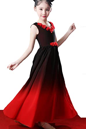 ZVOCY Chiffon Gradient Aline Flowers Girls Dresses Wedding Ombre Long  Pageant Dresses Black Red 2 40212c990