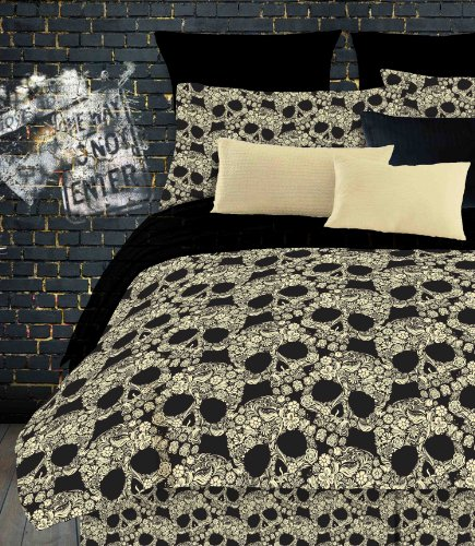 Veratex Flower Skull Twin Comforter Set, Multi