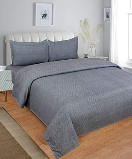 BLENZZA DECO Glace Cotton Double BEDSHEET with 2 Pillow Covers-Grey