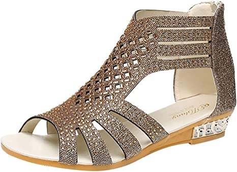 Special-Shop Womens Hollow Out High Heels Sandals Rome Style Flip Flops Shoes Woman