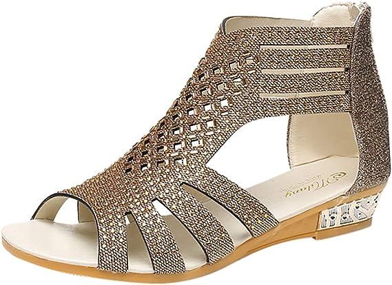 Robemon_Sandales Été Chic Sandales Femme Petit Talon Cristal Chaussure Femme Ouverte Peep Sandales Nu Pieds Talon Hauted Shoes Fille Adolescente