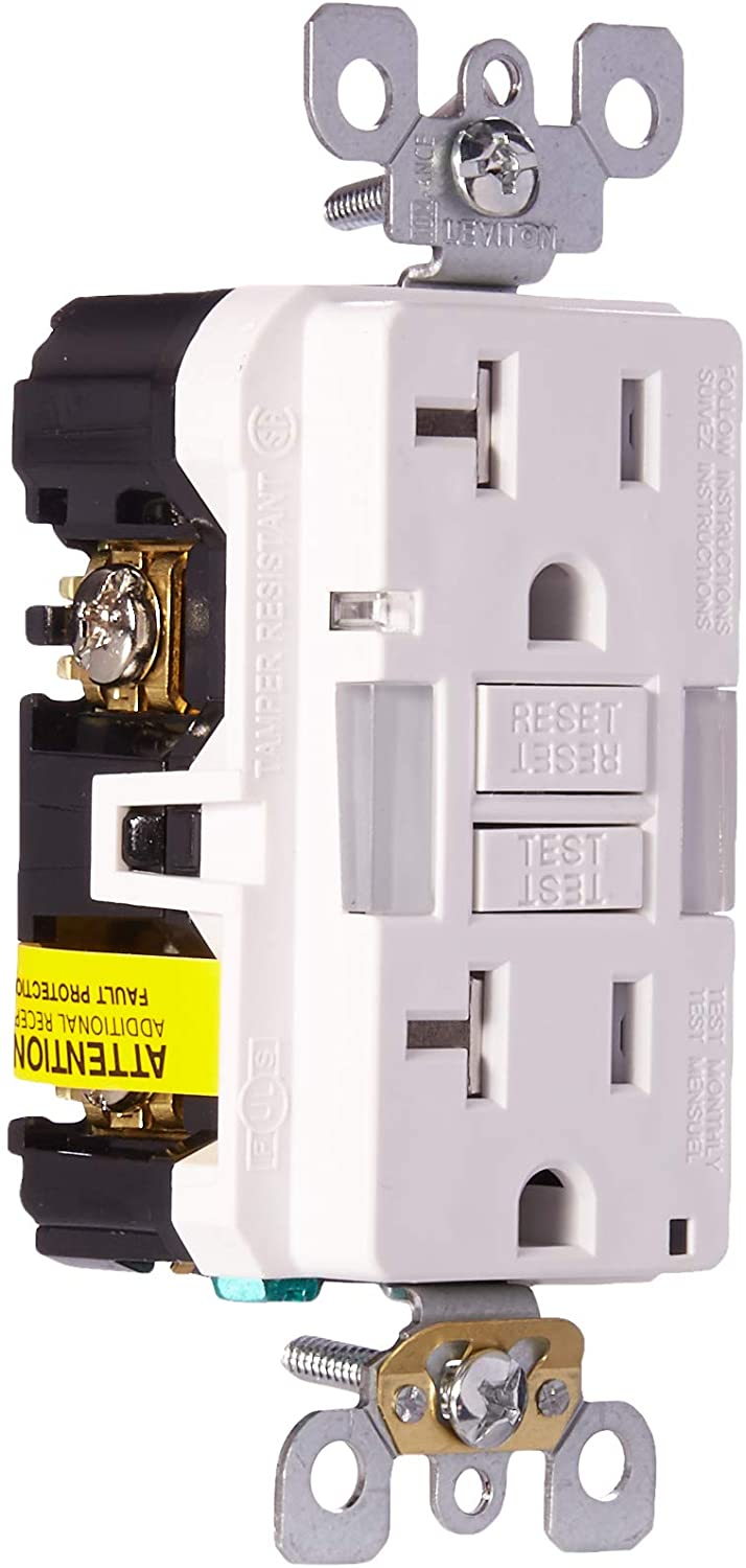 Leviton GFNL2-W Self-test SmartlockPro Slim GFCI Tamper-Resistant Receptacle with Guidelight and LED Indicator, 20-Amp, White