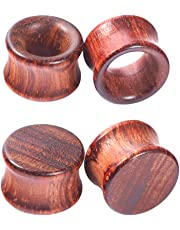 Longbeauty 1Pair/2Pair Vintage Brown Natural Wood Tunnels Ear Plugs Stretcher Gauges