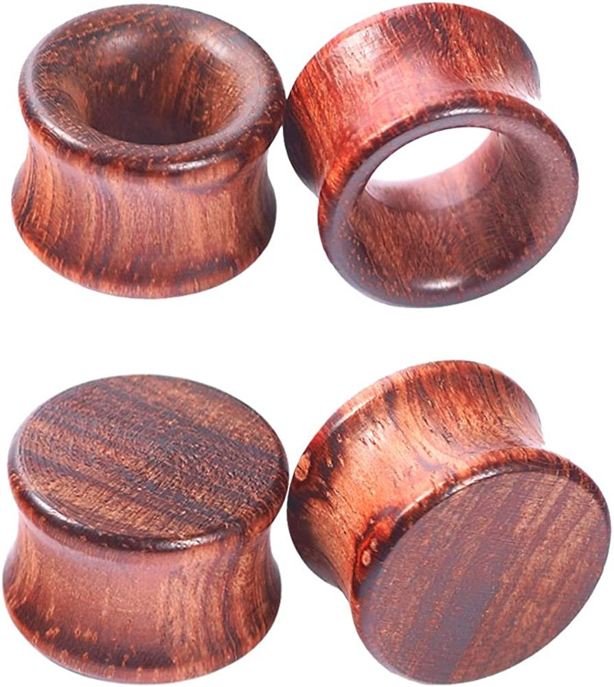 Longbeauty 1Pair/2Pair Vintage Brown Natural Wood Double Flared Ear Tunnels Expander Plugs Stretcher