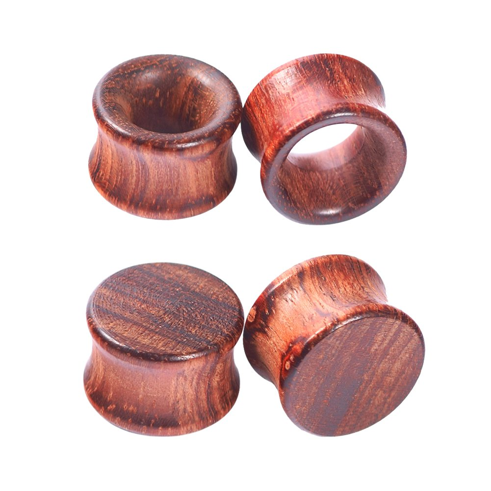 Longbeauty 2Pair Vintage Brown Natural Wood Double Flared Hollow+Saddle Tunnels Ear Plugs Stretcher Gauges 12MM=1/2''