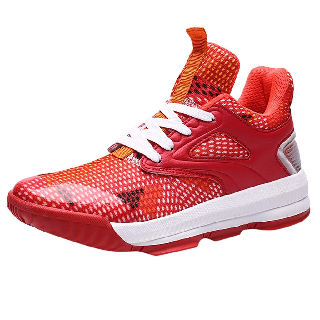 Men Sneakers High Top Running Sports Boots Mesh Breathable Basketball Shoes Red