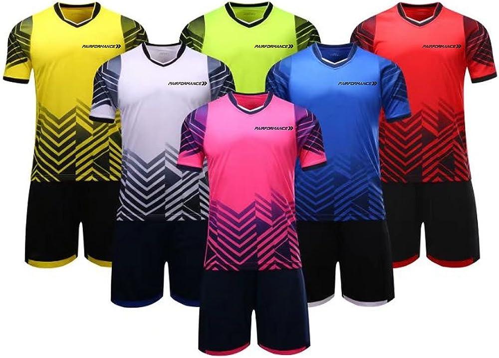 PAIRFORMANCE Boys Soccer Jerseys Sports Team Training Uniform Age 4-12 Boys-Girls Youth Shirts and Shorts Set Indoor Soccer.