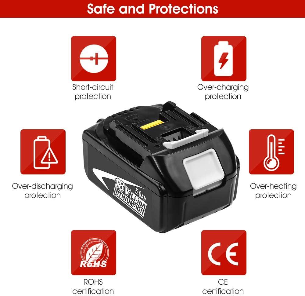 2X GatoPower 5.0Ah 18V Bater/ía de Reemplazo para Makita BL1860B BL1860 BL1850B BL1850 BL1840B BL1840 BL1830B BL1830 LXT-400 con Indicador