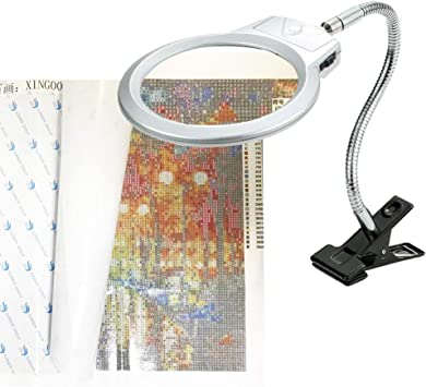 Magnifier for DIY Diamond Painting Kits and Cross Stitch Tool Accessory Magnifier Lamp 5D Diamond Painting Tools LED Magnifier Light with Clamp #1