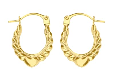 Adara 9 ct Gold Heart Wing Creole Earrings FYhHE5h09