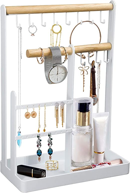 Amazon Com Top Spring Jewelry Stand Organizer Necklace Earring Hanging Display Holder Stand Rings Watches Metal Desk Organizer Stand With Storage Tray Home Kitchen