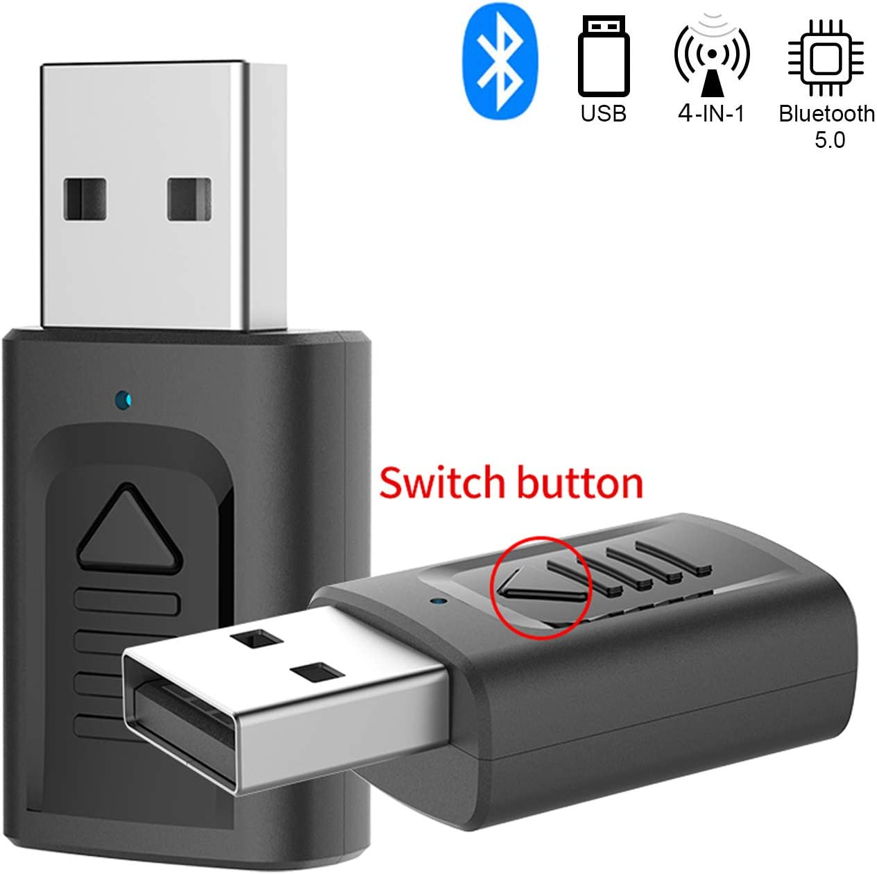 GeekerChip Adaptador Bluetooth USB 5.0,USB Bluetooth Receptor/Transmisor 2 en 1 con Audio 3.5MM Cable para PC/TV/Auriculares/Altavoces/Radio