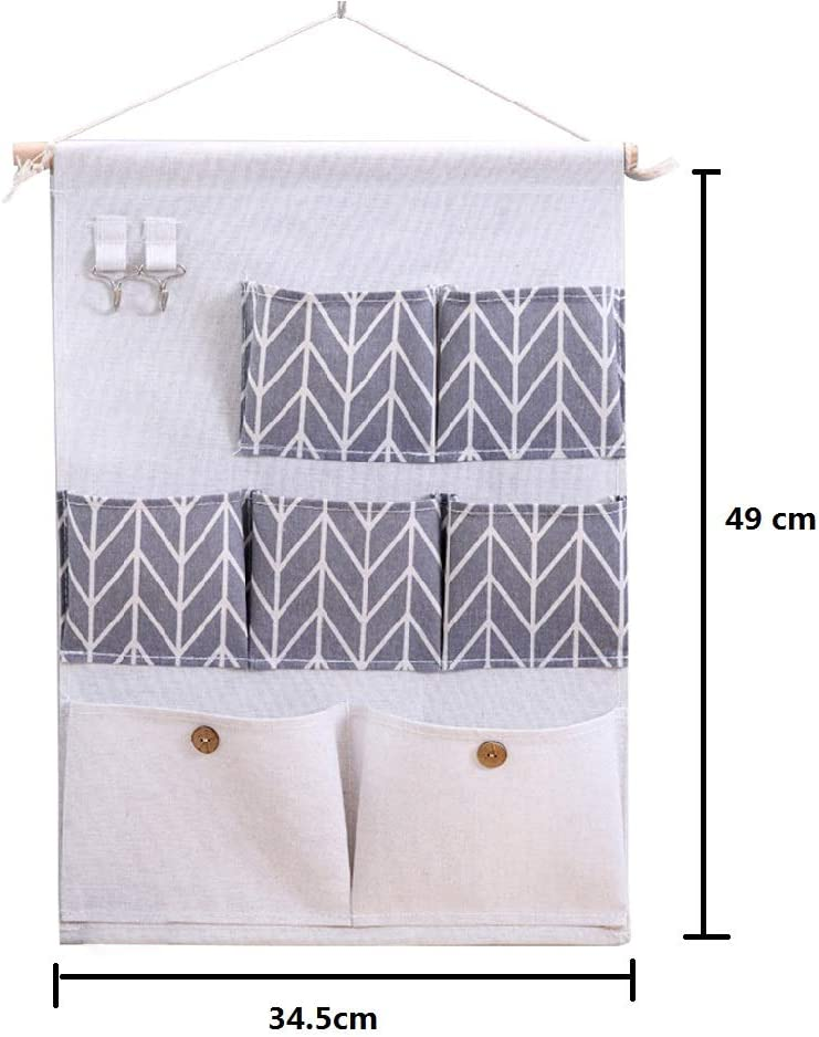 wasserfest BIGBOBA Wandgarderobe aus Stoff zur Aufbewahrung von T/üren f/ür Schlafzimmer mit 7 Taschen grau mehrere Schichten